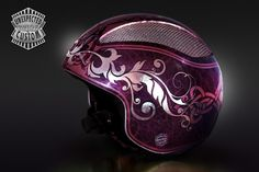 """Open face helmet """"Jugendstil n°2"""".  Entirely covered in pure silver leaf 999. Worked with airbrushed metallic powders and sparkle colors.  Brand / Model:  M Robert / MR213"""