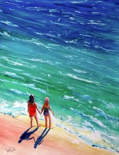 My Favourite Subject, Two Ladies, Strong Love, Natural World, Waves, Ocean, Sky, Fantasy, Fine Art