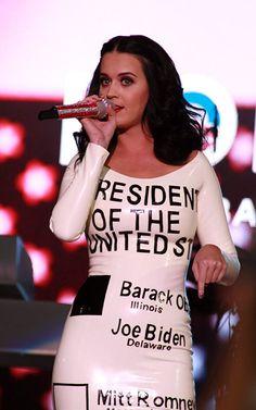 Katy Perry wears 'ballot' dress