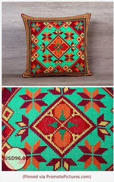 Retro embroidered geometrical needlepoint cross-stitch bright cool boho decorative pillow cover, standard european sham 14 x 14 (37 x 37 cm) https://www.etsy.com/listing/271603715/retro-embroidered-geometrical?ref=shop_home_active_6  (Pinned using https://PromotePictures.com)