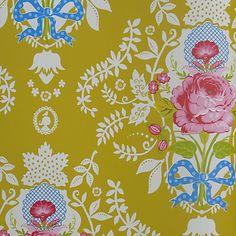 Pip Studio Shabby Chic Wallpaper in Yellow, John Lewis