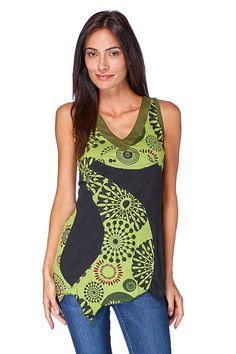 Vente Mode femme / 18202 / Tops / Tops sans manches et manches courtes / Top Vert et noir