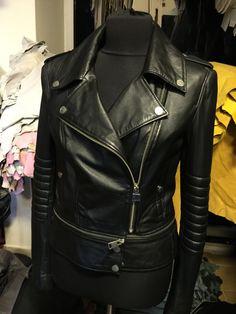 Biker black real leather jacket