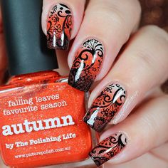 """Ana✨Nail Art-Tutorial-Swatches en Instagram: """"Hi loves!!  . I make a autumn gradient, I inspired in the design talented @solo_nails ❣ for make the look I use following . Cherish, Autumn and Demeter from @picturepolish ❤️ . Stamping plate 98 from @marianne_nails_stamping_plates  . Ya Qui An black stamping polish @bornprettystorenailart (use code FML91 for 10% off in your orders)✨ ."""