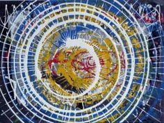 """Giuseppe Marchetti (Italia) """"12_12"""" smalti e pigmento metallico color oro su tavola rinforzata da telaio in legno (sul retro) cm. 40x50"""