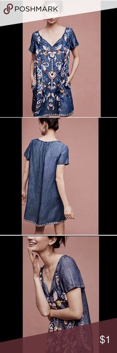 ISO!! Holding horses denim embroidered dress Looking for this dress!! Sold at anthropologie, from holding horses, denim embroidered pastel folklore peasant dress ☺️☺️☺️thanks! Small or medium Anthropologie Dresses