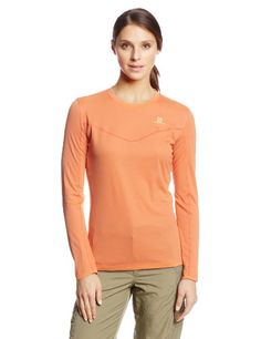Salomon Womens Stroll Long Sleeve Tee Orange Feeling Small * Check out the image by visiting the link.(This is an Amazon affiliate link)