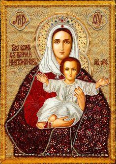 Шамордино, вышитые иконы монастыря.«Аз есмь с вами и никто же на вы» икона Божией Матери. http://www.vidania.ru/monastery/shamordino_vyshitye_ikony_monastyrya.html