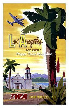 Los Angeles Fly TWA Vintage Travel Poster - Digitally Remastered Fine Art Print