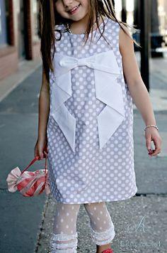 Gray Polka Dot Dress with Cascading Bow