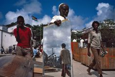 Alex Webb - KENYA. Lamu. 1984. Lamu town. Mirror on wharves