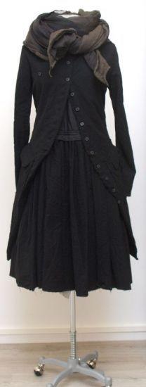rundholz - Kleid Tellerform Wool Cotton black - Winter 2015 - stilecht - mode für frauen mit format...