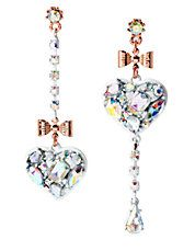 Heart and Bow Mismatch Drop Earrings