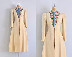 ✧ vintage 1940s rare cream color wool princess coat dress  ✧ scalloped neck ✧ tambour embroidery on yoke  ✧ slightly belled sleeve full skirt  ✧