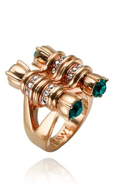 Mawi Rose Gold Plated Bike Chain Pave Crystal Ring