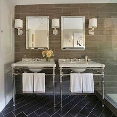 Traditional Home Magazine Napa Valley Showhouse 2013 - Master Suite - transitional - Bathroom - San Francisco - Ann Lowengart Interiors Bad Inspiration, Bathroom Inspiration, Floor Design, Tile Design, Wood Grain Tile, Tile Wood, Herringbone Tile Floors, Traditional Home Magazine, Rustic Wall Sconces