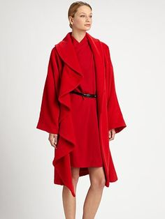 Armani Collezioni Ruffle-Front Coat and Crepon belted dress:   red hot