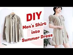 Refashion DIY Men's Shirt into Summer Dress / DIYファッション + 洋服 / 古着リメイク / 옷리폼 / COSTURAㅣmadebyaya - YouTube
