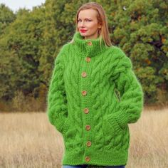 SUPERTANYA GREEN Hand Knitted Mohair Sweater Coat Handmade Fuzzy Cardigan Jacket #SuperTanya #Cardigan