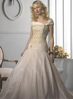 Empire Scoop Court Bridal Gown
