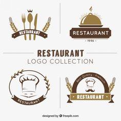 Mão coleção logotipo restaurante desenhada Vetor grátis