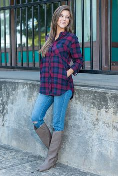 """""""Winter Wiles Top, Red""""You are going to want this warm cotton button down this fall and winter! It's rich, deep colors are perfect for the season and the style is totally classic!  #newarrivals #shopthemint"""