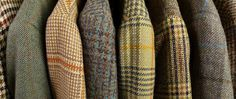 Various types of tweed fabrics