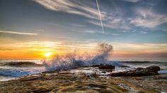 sea lakes spray sunset wallpaper hd download free