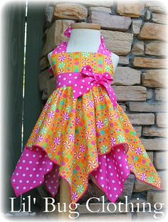 Items similar to Custom Boutique Clothing Candy Land Candy Birthday Handkerchief Birthday Dress on Etsy Frocks For Girls, Little Dresses, Little Girl Dresses, Girls Dresses, Party Dresses, Baby Frocks Designs, Kids Frocks Design, Little Girl Fashion, Kids Fashion