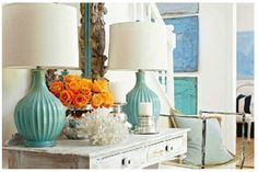 Color combination - aqua + orange + white and mercury glass/chrome. For our entryway or living room.