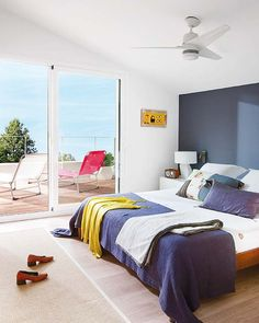 Home Interior Renovation for Classic House : Bedroom Design Among Glass Door Also Stunning Sea View Modern Bedding Ideas Use White Bedspread And Purple Pillows