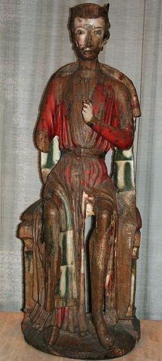 St. Olav figur i Fresvik kirke Romersk katolsk Leikanger 1250 - 1260 Norway