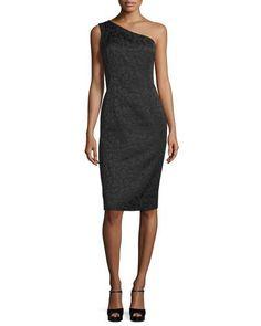 TCCG8 Michael Kors One-Shoulder Embossed Sheath Dress, Black