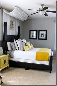 yellow and grey bedroom Bedroom decor Bedroom design - Home and Garden Design Ideas Home Interior, Interior Design, Interior Paint, Interior Office, Modern Interior, Sweet Home, Couple Bedroom, Bedroom Ideas Master For Couples, Bedroom Decor For Couples Romantic