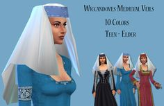 wiccandove:  My first Sims 4 CC so please be gentle! Medieval Veils. For some…