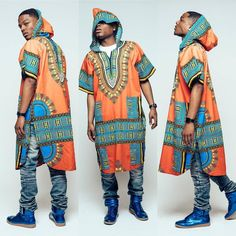 Bring a bit of ethnic style to your day with these extra long dashikis with a hood. Each one pays homage to the African dashiki while being at an affordable price. Machine wash in cold wa African Inspired Fashion, African Print Fashion, Ethnic Fashion, Ankara Fashion, Africa Fashion, African Attire, African Wear, African Dress, African Style