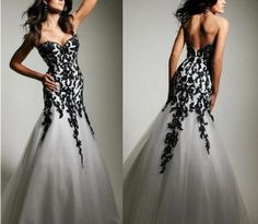 2013 New Grey&Black Applique Mermaid Prom Gown Evening Dress Formal Party Dress