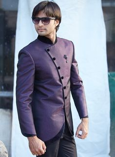 Home > Purple Art Silk Nehru Jacket and Trousers