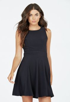 Scoop Neck Skater Dress in Black - Get great deals at JustFab