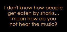 Dun dun dun dun dun dun.  I don't know how people get eaten by sharks... I mean how do you not hear the music?