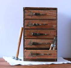 Multi Drawer Tool and Hardware Desk Organizer from Repurposed Vintage Cheese Boxes