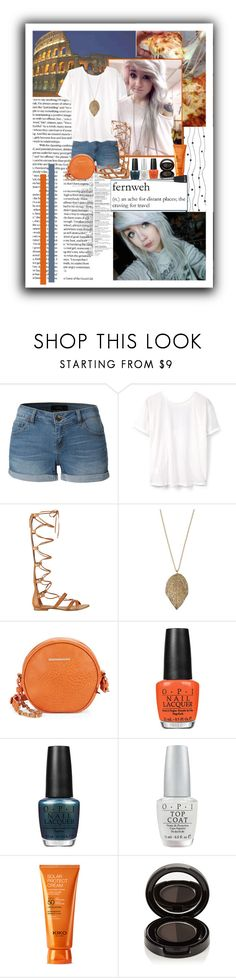 """""""Italy Vacation idea"""" by crimsonteardrop ❤ liked on Polyvore featuring Colosseum, LE3NO, MANGO, GUESS, Mudd, Kensie, OPI and Anastasia Beverly Hills"""