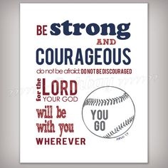 Boy's Scripture Verse Art Print  Be Strong and by buhbay on Etsy, $14.00