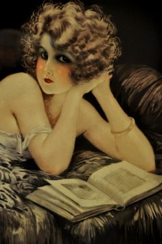 Vintage Art Deco flapper pin-up illustrated by Maurice, ca. 1920s