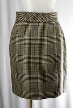 Issues EMANUEL Ungaro 2 Brown Blue Gold Plaid Pencil Skirt #EmanuelUngaro #StraightPencil