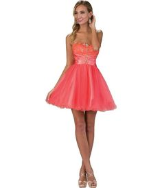 Homecoming fashion for women. I'm an affiliate marketer with links to shopstylecollective.com. When you click on a link or buy from the retailer, I earn a commission. Coral Strapless Lace & Tulle Embellished Short Party Dress. http://shopstyle.it/l/hzOF