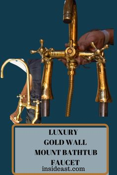 Discover the golden hue of the authentic brass that will make it catch the eye. This wall-mounted faucet is used as a bathtub faucet for your master bathroom. Wall Faucet, Bathroom Faucets, Master Bathroom, Bathrooms, Moroccan Home Decor, Gold Walls, Vanities, Wall Mount, Hue