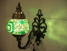 Green mosaic glass sconce lamp wall lamp lampe by meryemart Turkish Lights, Outdoor Lamps, Moroccan Lanterns, Mosaic Glass, Lamp Light, Wall Sconces, Wall Lights, Candles, Lighting