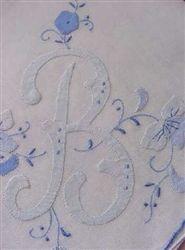 B Monogram Hankie BLUE for BRIDE Madeira Style 9.99