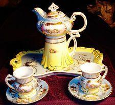 ROYAL VIENNA CHOCOLATE POT SET POT CUPS SAUCERS TRAY GOLD ROSES BLUE YELLOW